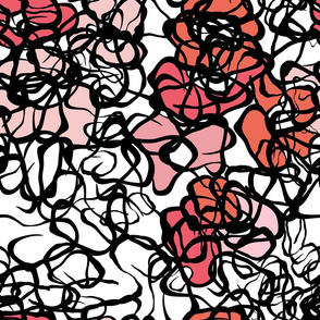 INKY FLOWERS! Black White Reds and Pinks