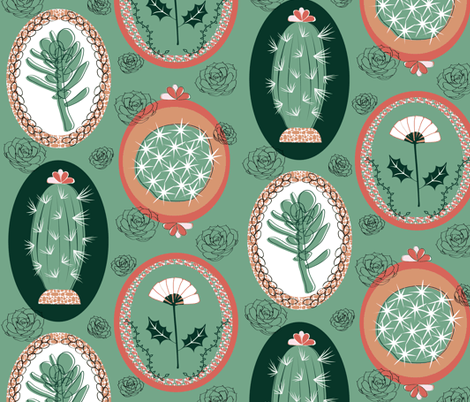 Prickly Portraits fabric by vanillabeandesigns on Spoonflower - custom fabric