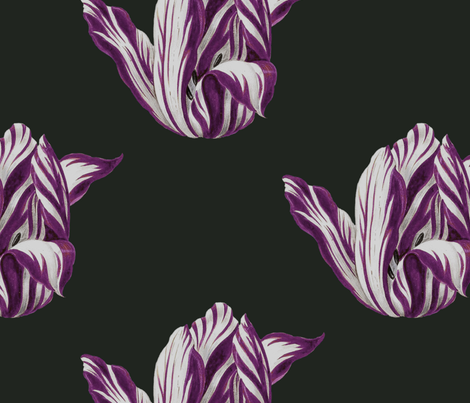 Midnight Tulips in merlot fabric by domesticate on Spoonflower - custom fabric
