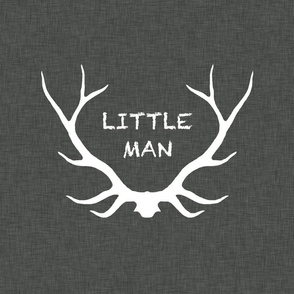 "18"" Little Man Antlers - White on Dark Grey Linen"