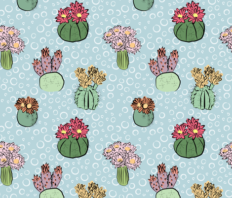 Cactus flower multi color fabric by rikkandesigns on Spoonflower - custom fabric