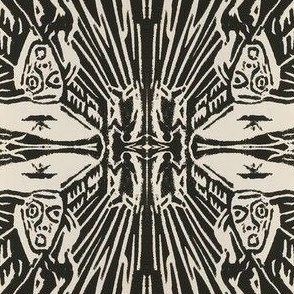 The Scream WoodCut MudCloth