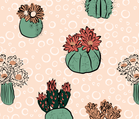 cactus_flower_limited_palatte-01 fabric by rikkandesigns on Spoonflower - custom fabric