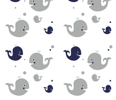 Ezra Nursery Gray Whales fabric by sweet_peach on Spoonflower - custom fabric
