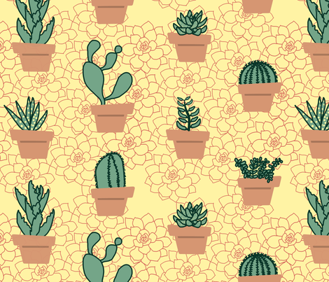 Succulents fabric by chiral on Spoonflower - custom fabric