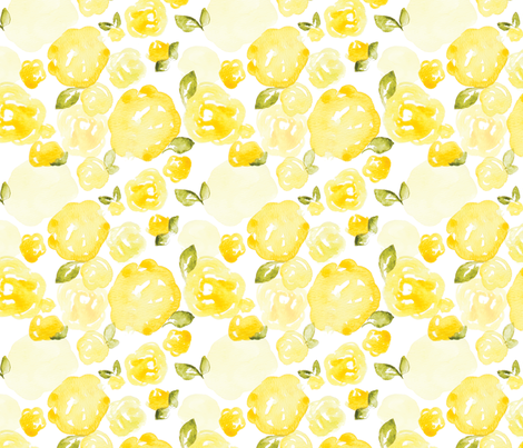 Soft Yellow Watercolor Rose fabric by laurapol on Spoonflower - custom fabric