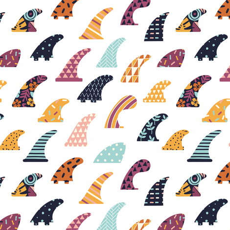 Surfing fin  fabric by tasiania on Spoonflower - custom fabric