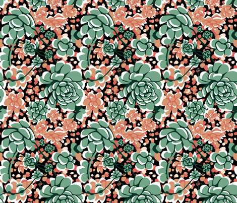 Succulents limited palette fabric by marta_strausa on Spoonflower - custom fabric