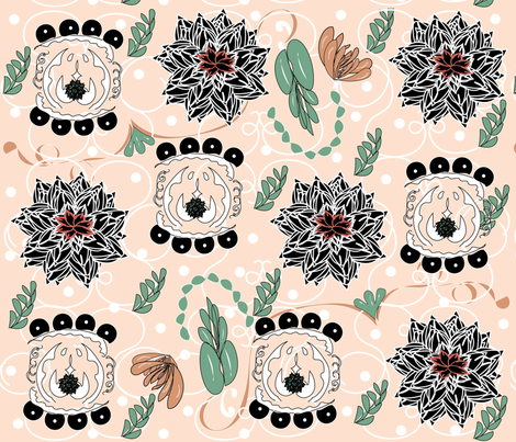 Black Succulents on Blush fabric by gracelillydesigns on Spoonflower - custom fabric