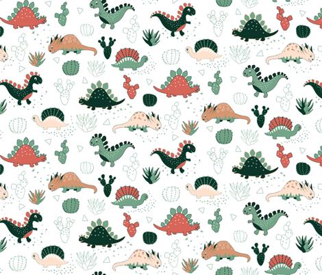 Succulent Dinos (white) fabric by gabriellemutel on Spoonflower - custom fabric