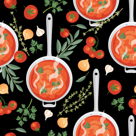 Let's Eat, Black - Tomato Soup fabric by diane555 on Spoonflower - custom fabric