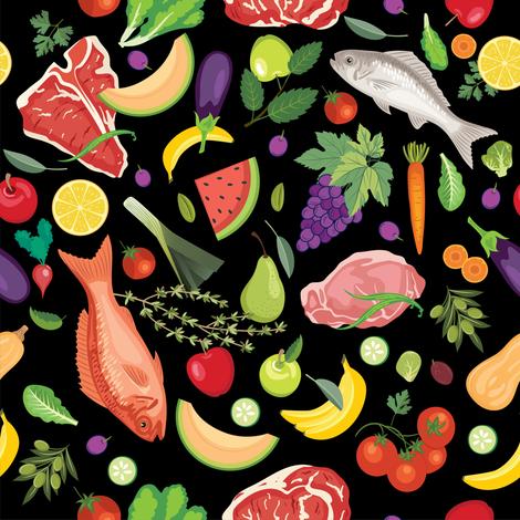 Let's Eat, Black - Fresh Foods fabric by diane555 on Spoonflower - custom fabric