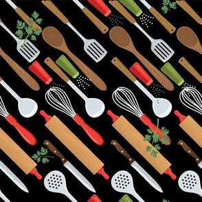 Let's Eat, Black - Diagonal Rows Of Utensils