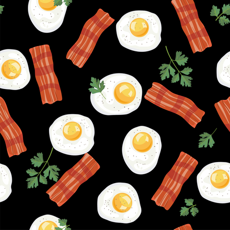 Let's Eat, Black -Bacon & Eggs fabric by diane555 on Spoonflower - custom fabric