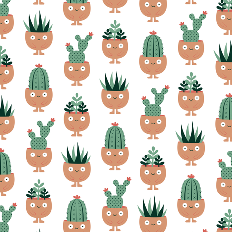 Succulent hairstyles fabric by petitspixels on Spoonflower - custom fabric