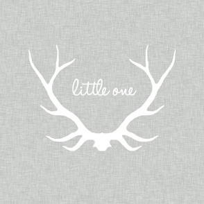 "18"" Little One Antlers - White on light gray linen"