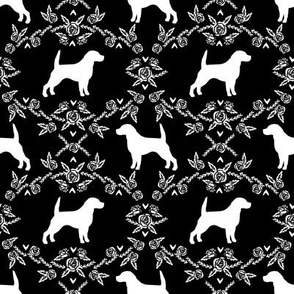 Beagle silhouette florals dog breed pattern black
