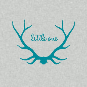 "18"" Little One in Antlers - teal on light gray linen"
