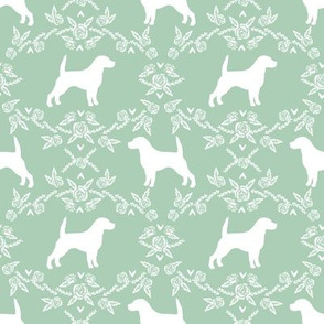 Beagle silhouette florals dog breed pattern mint