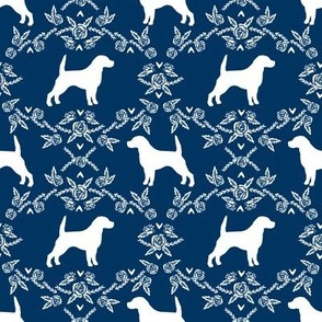 Beagle silhouette florals dog breed pattern navy