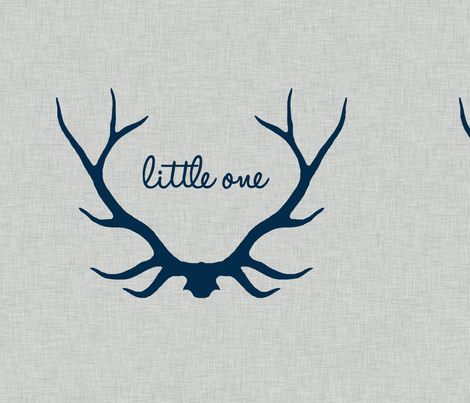 "18"" Little One - Navy on Light Grey Linen fabric by sugarpinedesign on Spoonflower - custom fabric"
