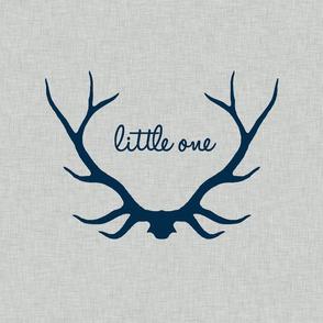 "18"" Little One - Navy on Light Grey Linen"