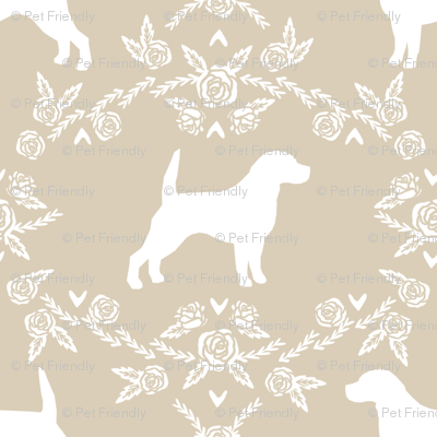 Beagle silhouette florals dog breed pattern sand