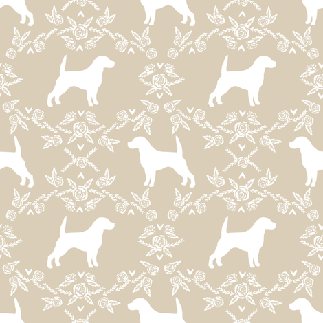 Beagle silhouette florals dog breed pattern sand fabric by petfriendly on Spoonflower - custom fabric