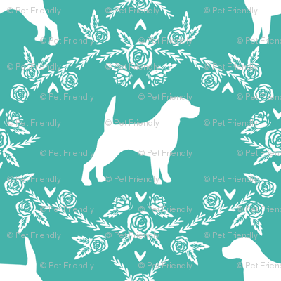 Beagle silhouette florals dog breed pattern turquoise