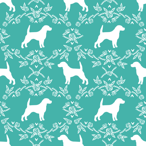 Beagle silhouette florals dog breed pattern turquoise fabric by petfriendly on Spoonflower - custom fabric