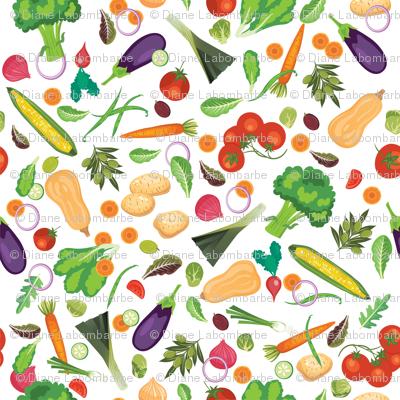 Let's Eat, White - Fresh Vegetables