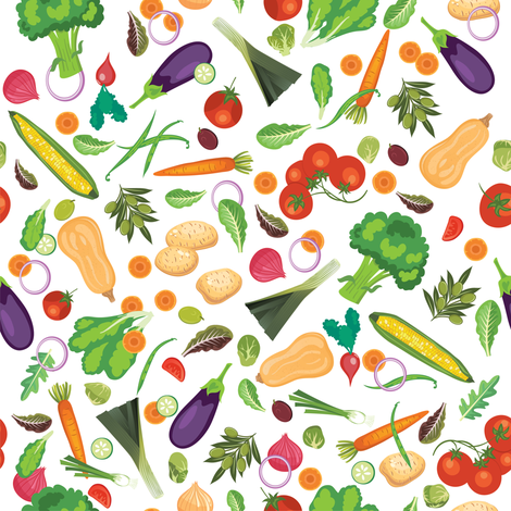 Let's Eat, White - Fresh Vegetables fabric by diane555 on Spoonflower - custom fabric