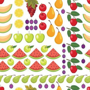 Let's Eat, White - Rows Of Fresh Fruits