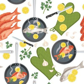 Let's Eat, White - Frying Pans Of Fish
