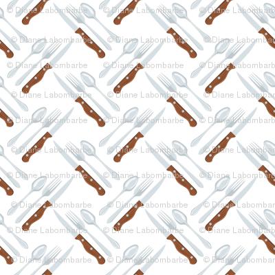Let's Eat, White - Knife, Fork & Spoon