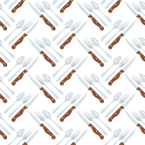 Let's Eat, White - Knife, Fork & Spoon fabric by diane555 on Spoonflower - custom fabric