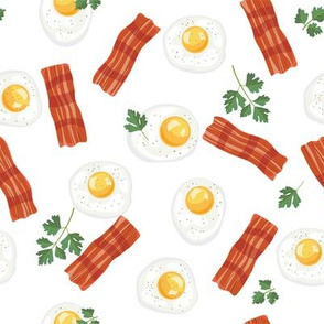 Let's Eat, White - Breakfast, Bacon & Eggs
