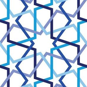 Geometric fivefold star navy lines