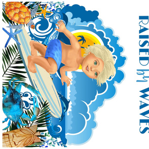 "42""x36"" RAISED BY WAVES / SURFER BOY"