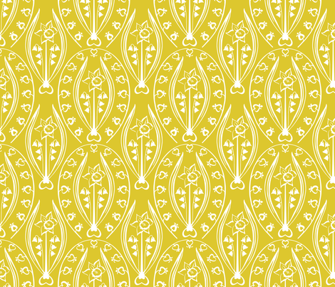 Love & Prosperity - yellow fabric by jillbyers on Spoonflower - custom fabric