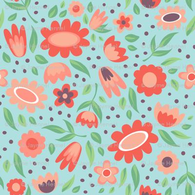 Flowers - aqua