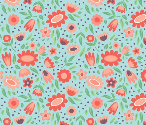 Flowers - aqua fabric by jaymehennel on Spoonflower - custom fabric