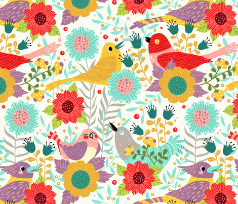 birdsandflowers fabric by gaiamarfurt on Spoonflower - custom fabric