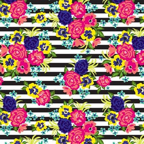 Colorful Floral with Stripes