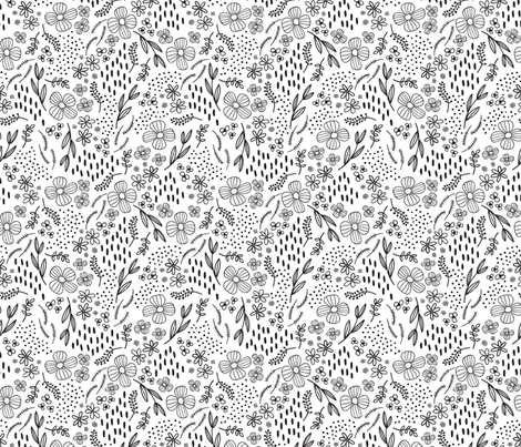 Simple Line Drawn Black Floral fabric by kellyrenay on Spoonflower - custom fabric