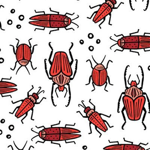 Beetles - red on white