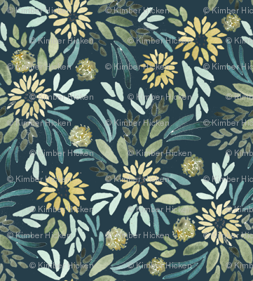 Tiny Yellow Whimsy on Navy