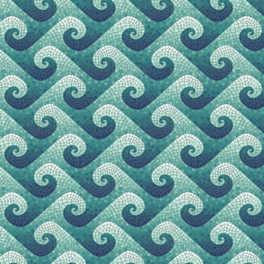 mini wave mosaic - navy, teal, white