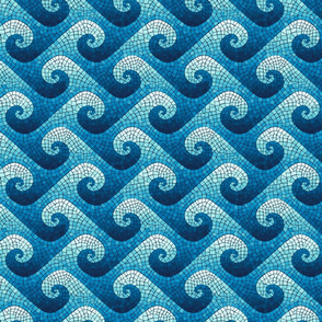 mini wave mosaic - navy, blue, cyan, aqua, white