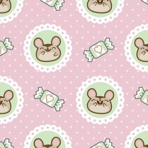 Minty Mice on Pink